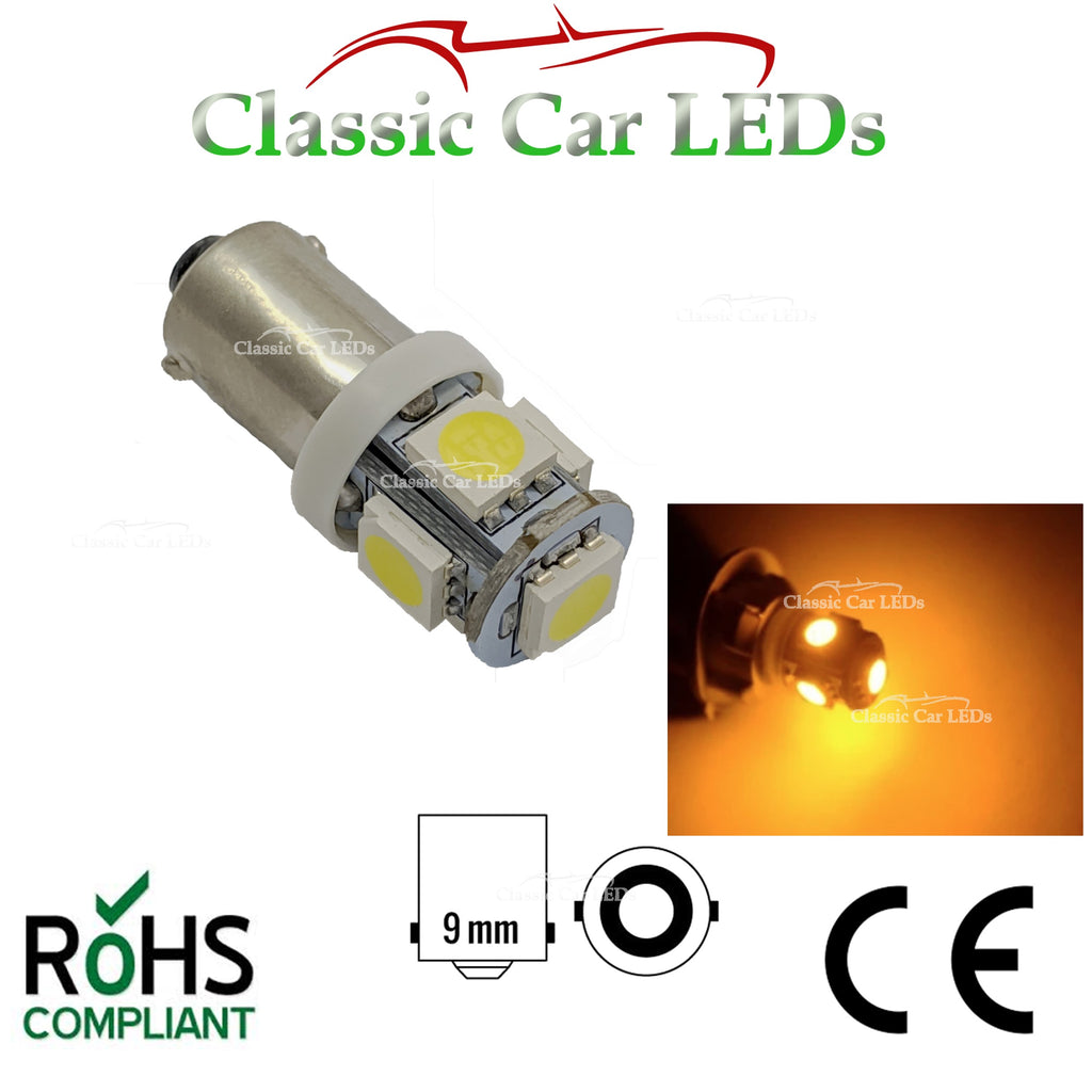 BA9S 9 MM AMBER YELLOW LED SIDELIGHT DASH GAUGE INDICATOR BULB GLB233 GLB989