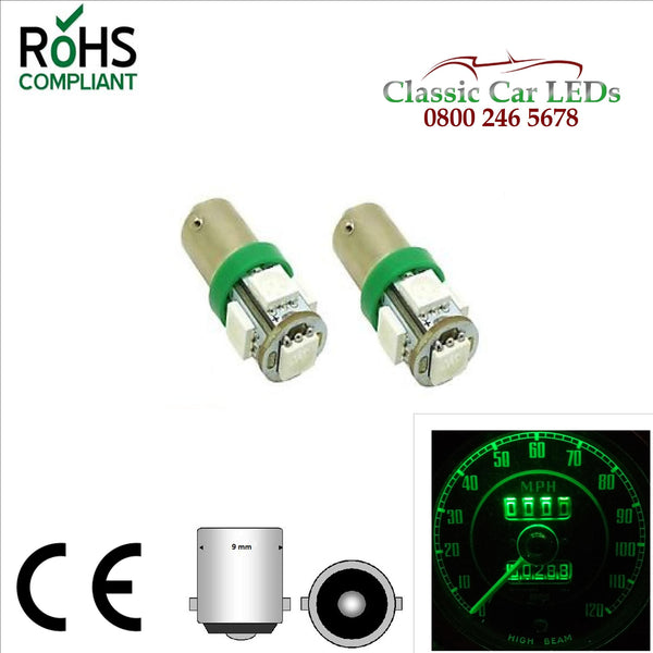 BA9S GREEN 80 LUMEN 5 SMD  LED SIDELIGHT GAUGE BULB