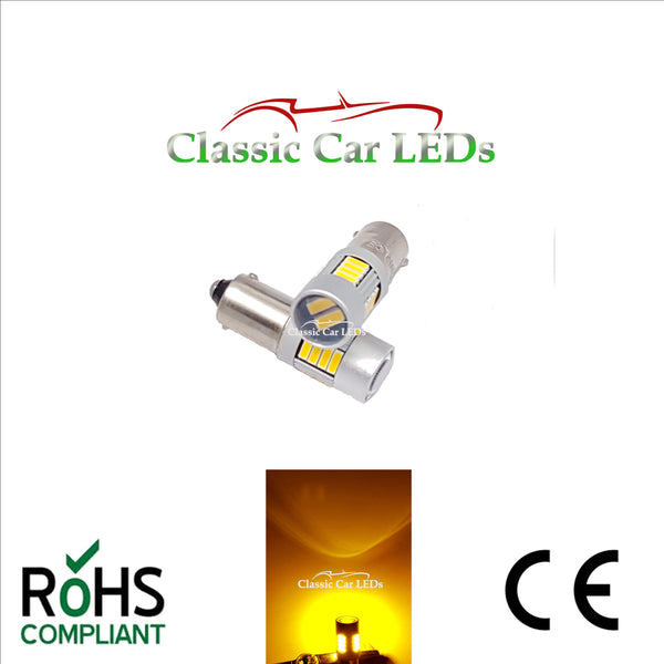 24V BA9S BRIGHT YELLOW CLASSIC COMMERCIAL VEHICLE LED BULB 249 227 651 865 867 NO POLARITY