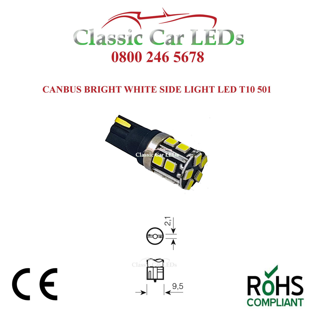 Strong Canbus GLB501 T10 W5W LED Capless Wedge Bulb Sidelight Number Plate