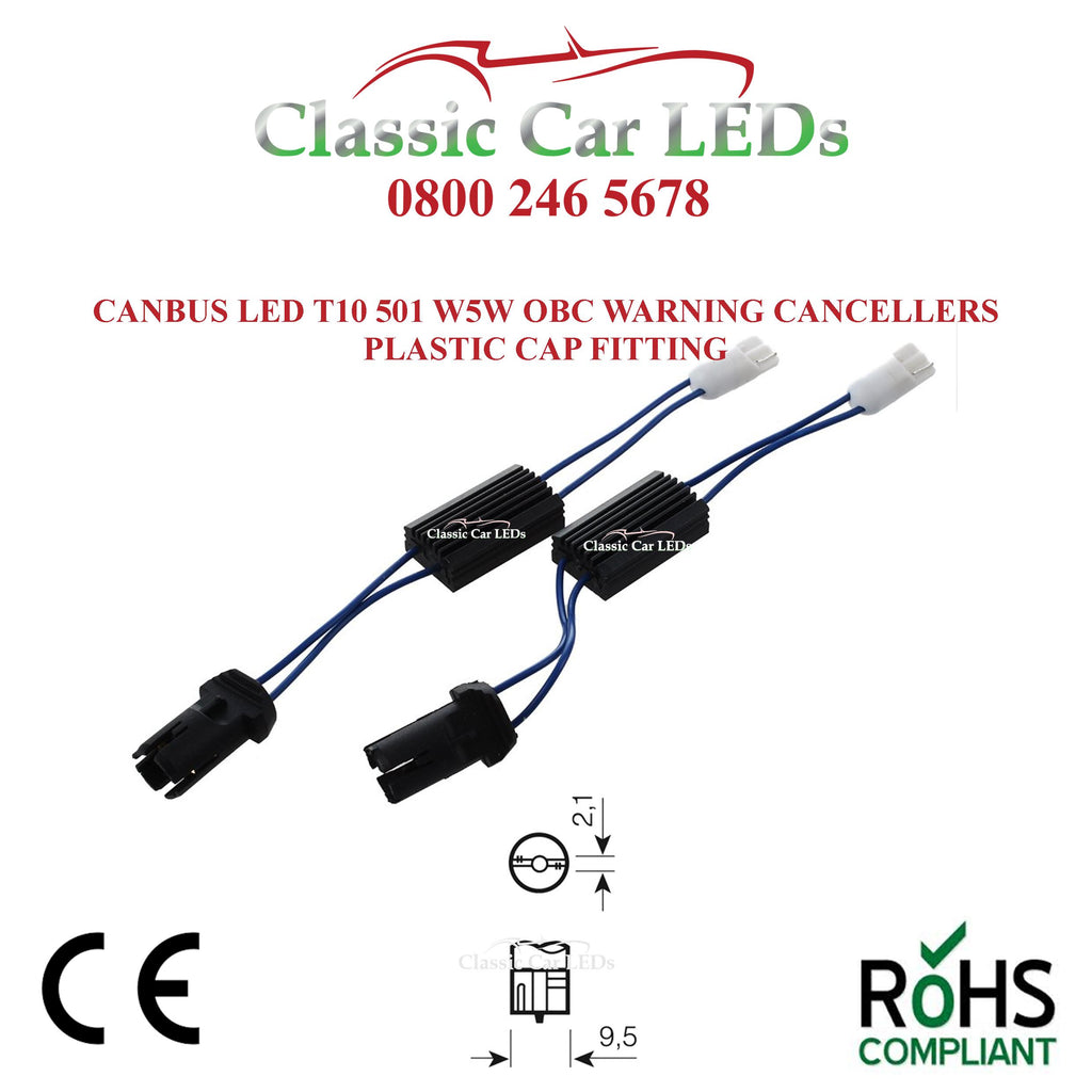 2x CANBUS LED T10 501 W5W OBC WARNING CANCELLERS