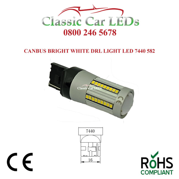 1 x Strong Canbus Daylight Running DRL White LED 7440 W21W T20 582