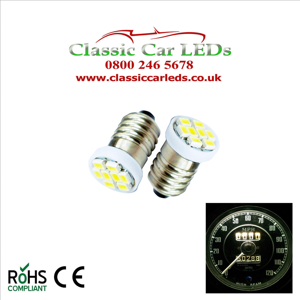 GLB987 E10MES 48 Lumen 8 SMD LED Warm White Bulbs Dashboard / Gauge Lighting