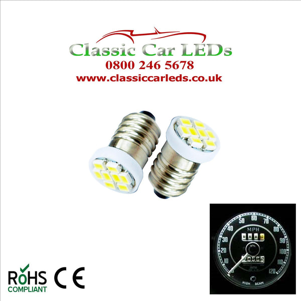 GLB987 E10MES 48 Lumen 8 SMD LED White Bulbs Dashboard / Gauge Lighting