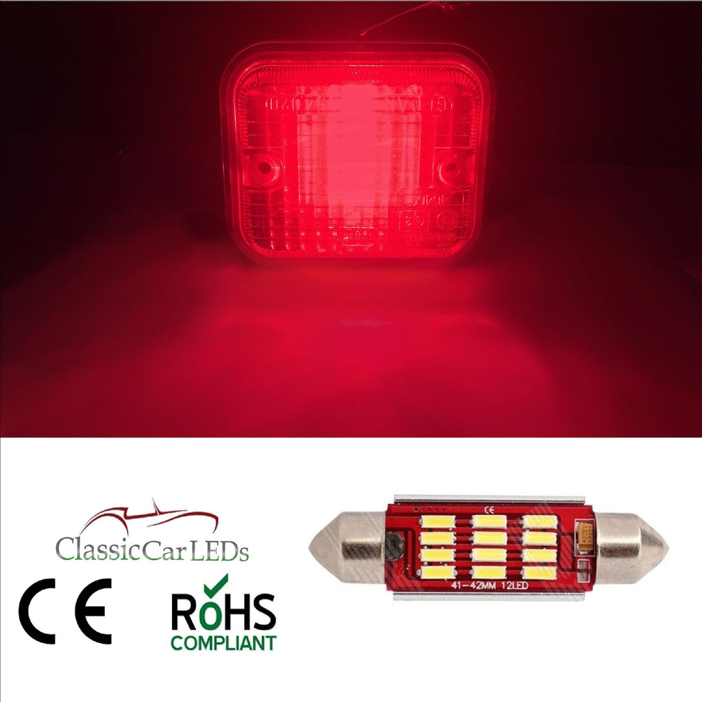 CLASSIC CAR LED RED FOG STOP BRAKE LIGHT BULB GLB273 4014 SMD 12 LED 42mm 270