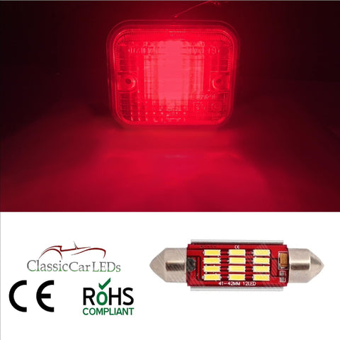 CLASSIC CAR LED RED FOG LIGHT BULB GLB273 4014 SMD 12 LED 42mm 270