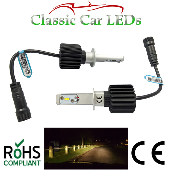 Pair of Latest LED Headlights H1 Warm White Main or Dip Beam Conversion 9-32V