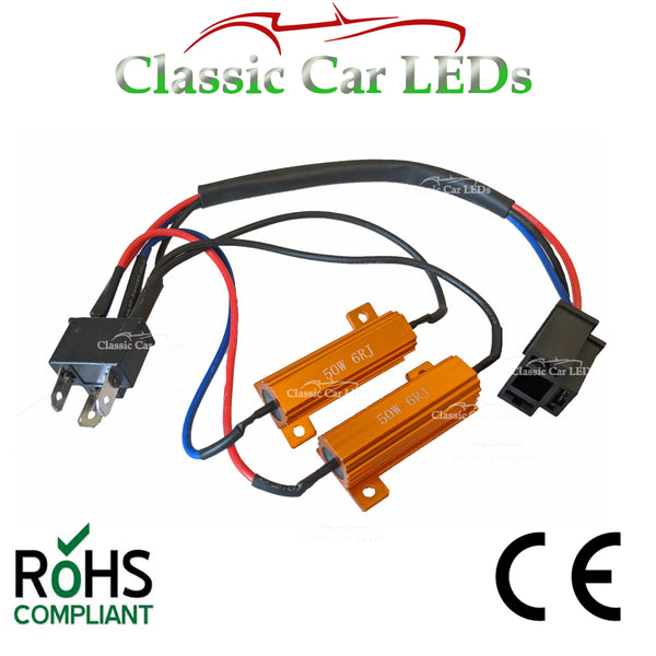 H4 LED CANBUS ERROR OBD WARNING CANCELLER BALLAST RESISTOR WIRING HARNESS 50W 6OHM