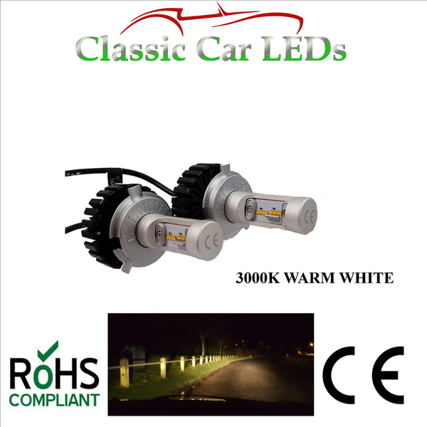 Pair of Warm White LED Headlights H4 Hi/Lo Beam Conversion 9-32V Excellent Beam Pattern
