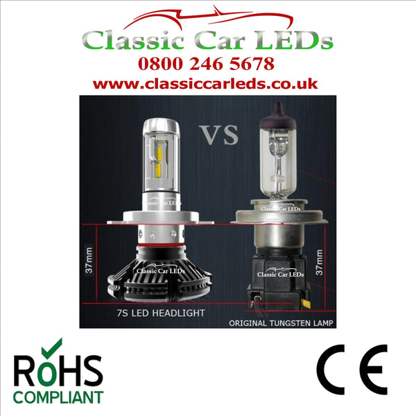 Pair of 6 VOLT LED Headlights H4 476 with colour options Hi/Lo Beam Conversion 5-9V