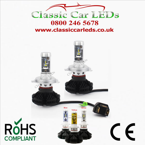 Pair of LED Headlights H4 Fully Integrated with colour options Hi/Lo Beam Conversion 9-32V