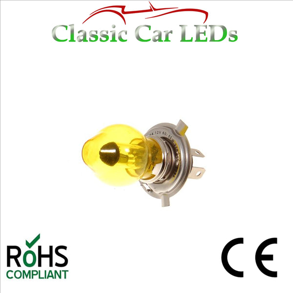 1 x 12 VOLT GLB476 YELLOW CAP 60/55W P43T H4 BOSCH HALOGEN CAR MOTORCYCLE HEADLIGHT