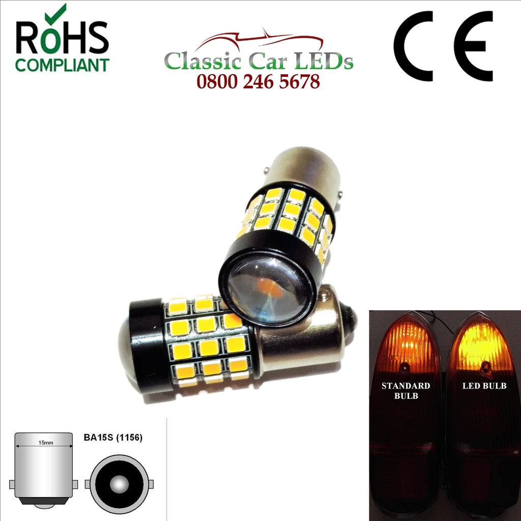 24 V BRIGHT AMBER LED INDICATOR BULBS BA15S
