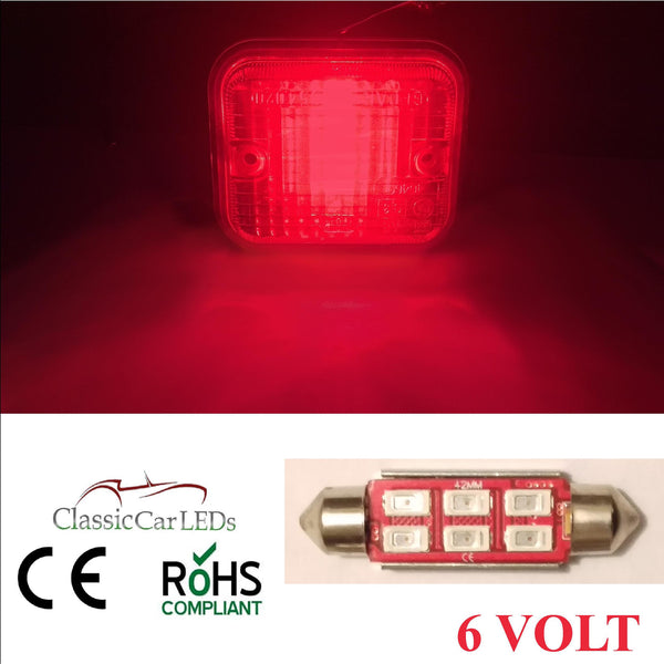 6 Volt 6V 42MM RED FESTOON LED BULB 5630 6 SMD CLASSIC CAR MOTORBIKE SCOOTER GLB273