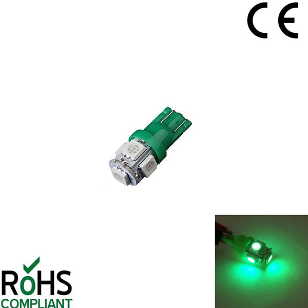24 Volt GLB505 507 T10 5050 LED Capless Green Wedge Bulb Gauge Sidelight W5W