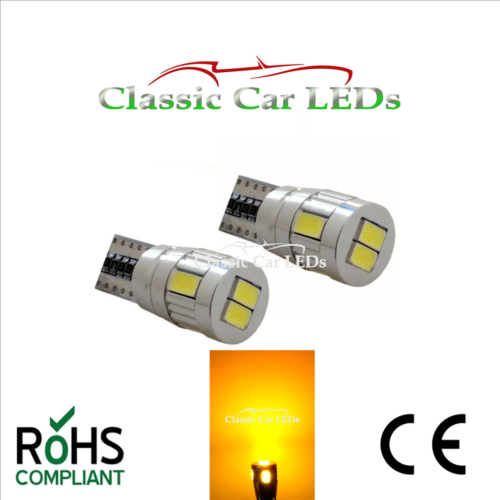 T10 CAR BULB LED ERROR FREE CANBUS 6 SMD YELLOW / AMBER W5W 501 SIDE MARKER REPEATER