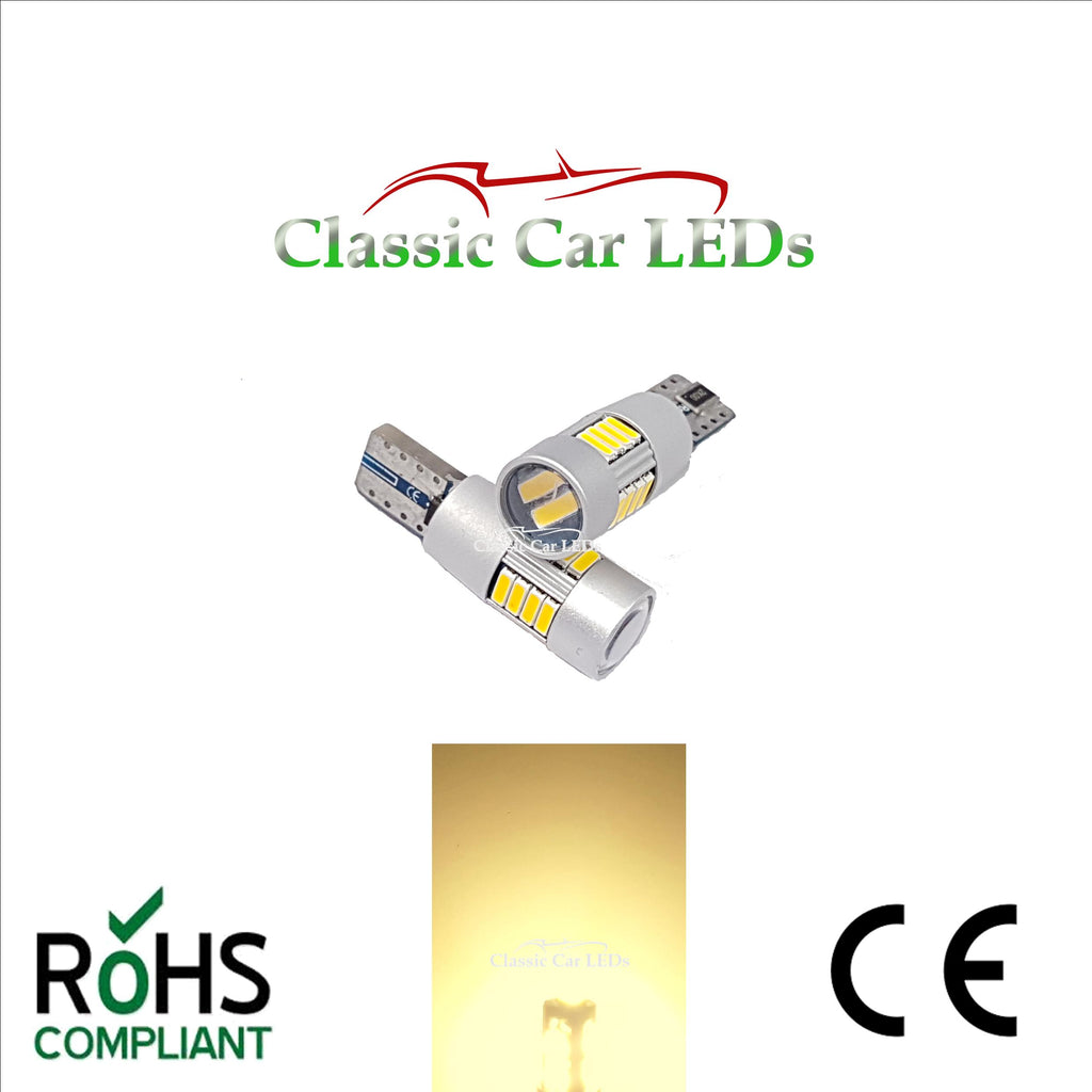 BRIGHT T10 CAR BULB LED ERROR FREE CANBUS 18 SMD WARM WHITE W5W 501 SIDE LIGHT