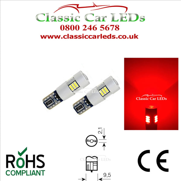 BRIGHT RED T10 CAR BULB LED ERROR FREE CANBUS TAIL W5W 501 SIDE LIGHT