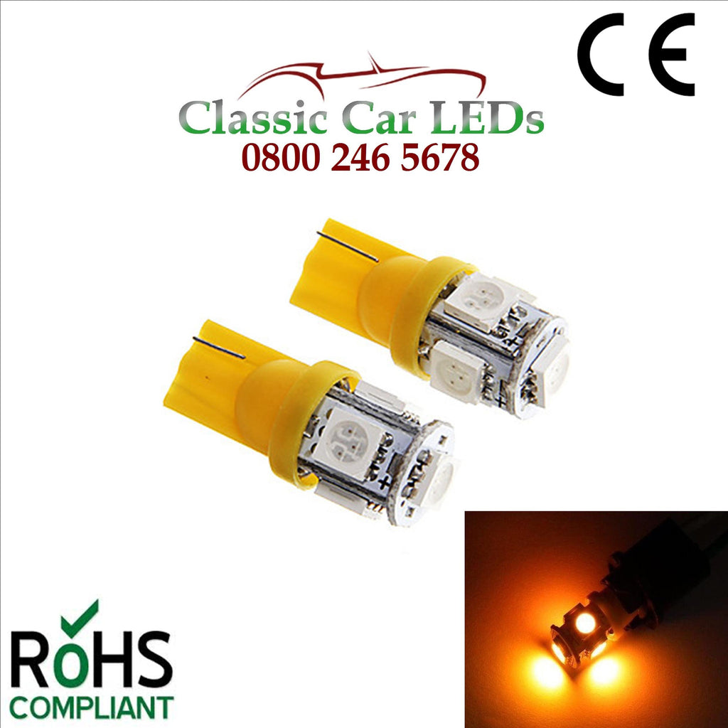 GLB501 T10 W5W 5050 LED Capless Yellow Wedge Bulbs Classic Car Gauge Sidelight