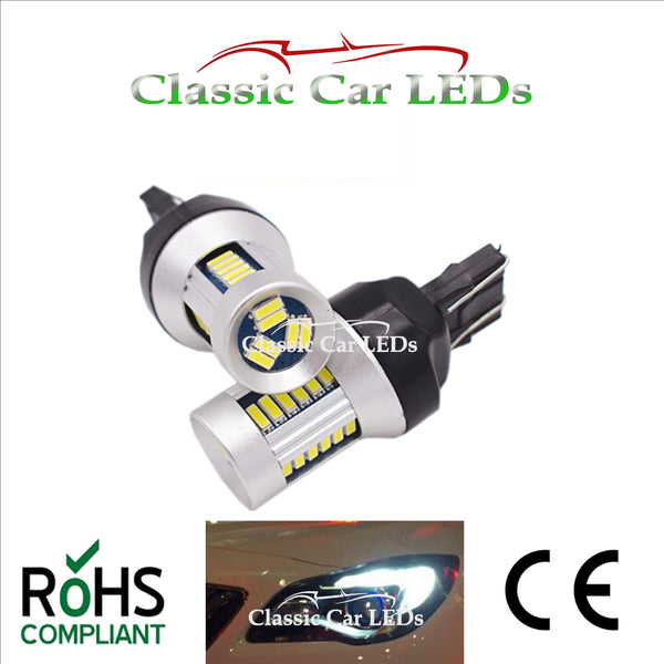 2x 580 T20 LED DRL ERROR FREE 6000K BRIGHT WHITE W21/5W DAY TIME RUNNING LIGHT SMD