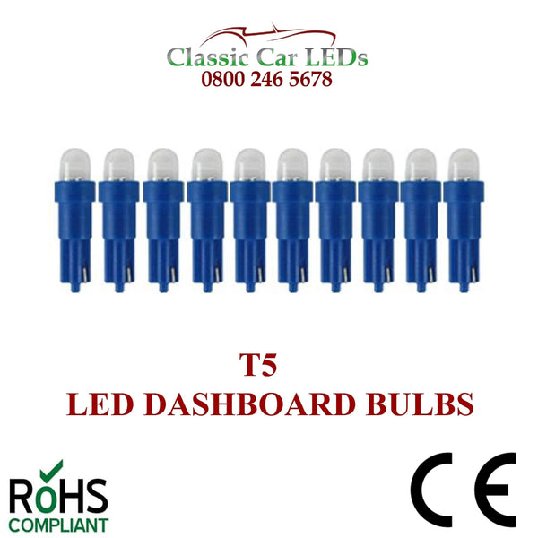 24 VOLT 508 T5 LED DASHBOARD UPGRADE BULBS VARIOUS COLOURS 5MM CAPLESS