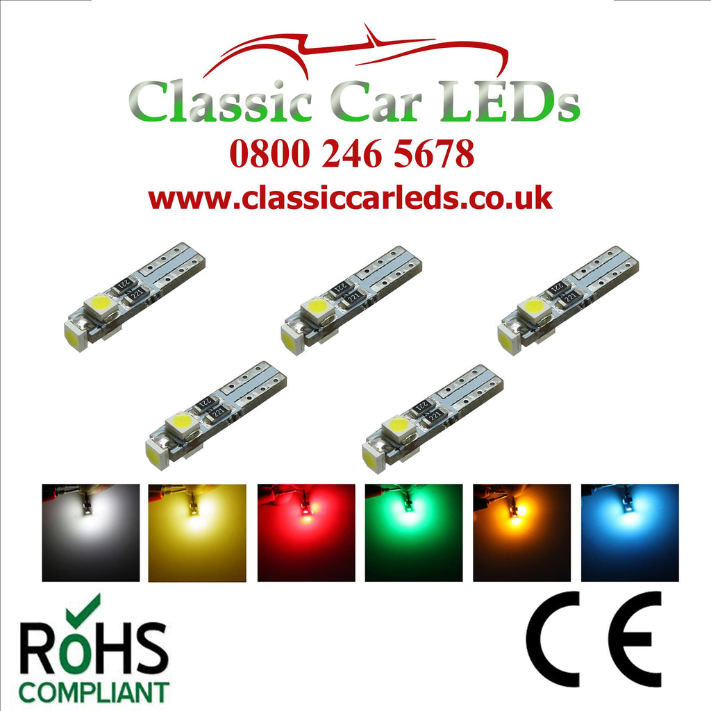 286 T5 LED DASHBOARD UPGRADE BULBS T5 74 VARIOUS COLOURS