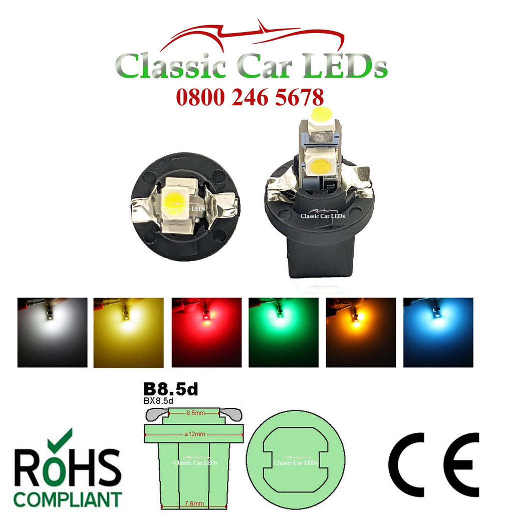B8.5D TWIST LED BULB 286 GAUGE DASHBOARD UPGRADE 509T - VARIOUS COLOURS