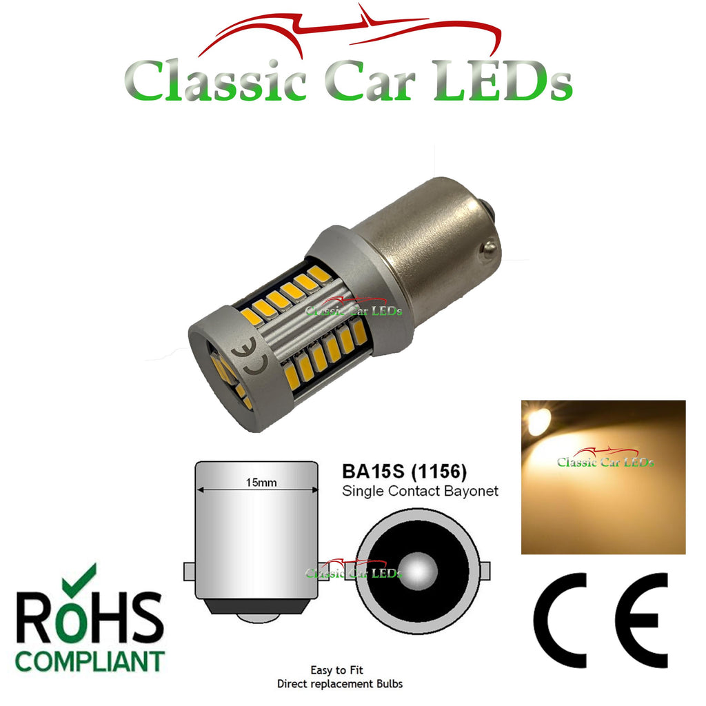 12V BA15S WARM WHITE 21W LED 4014 SMD BULB CLASSIC VEHICLE P21W GLB382