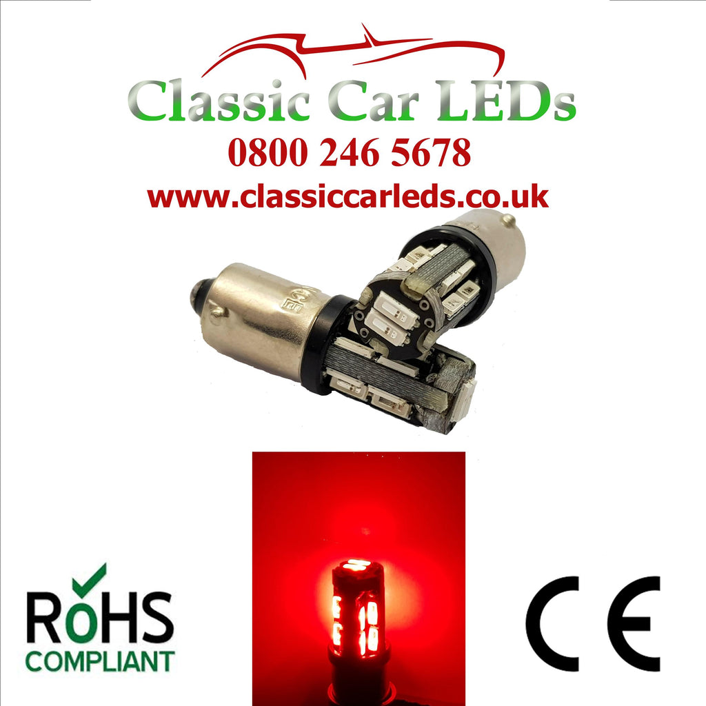 24V BA9S BRIGHT RED CLASSIC COMMERCIAL VEHICLE LED BULB 249 227 651 865 867 NO POLARITY