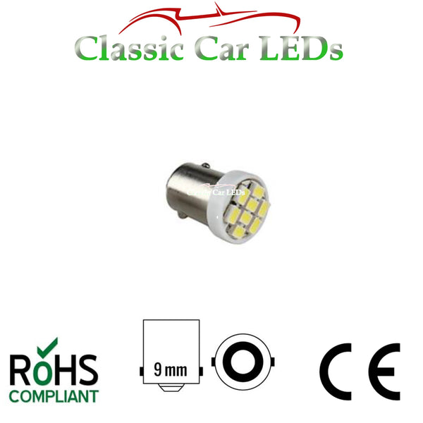 BA9S WHITE 8 SMD LED SIDELIGHT GAUGE BULB GLB233 GLB989