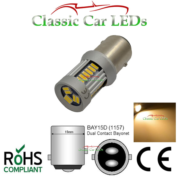 BAY15D WARM WHITE SIDELIGHT INDICATOR LED BULB P21/5W GLB380 CLASSIC CAR