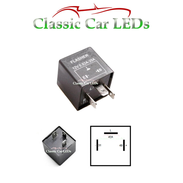 12V 4X21W 3 TERMINAL INDICATOR FLASHER TURN RELAY ELECTRONIC ALSO SUITS LEDs