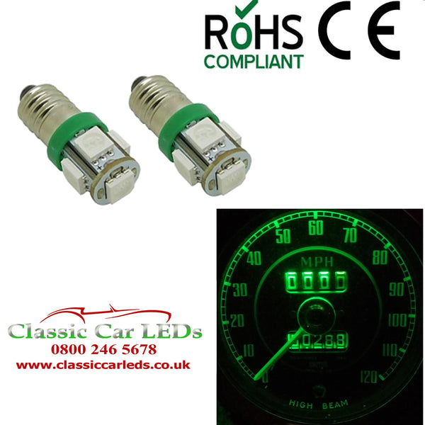 24 Volt GLB993 E10MES Green 5 SMD LED Bulbs Dashboard / Gauge Lighting