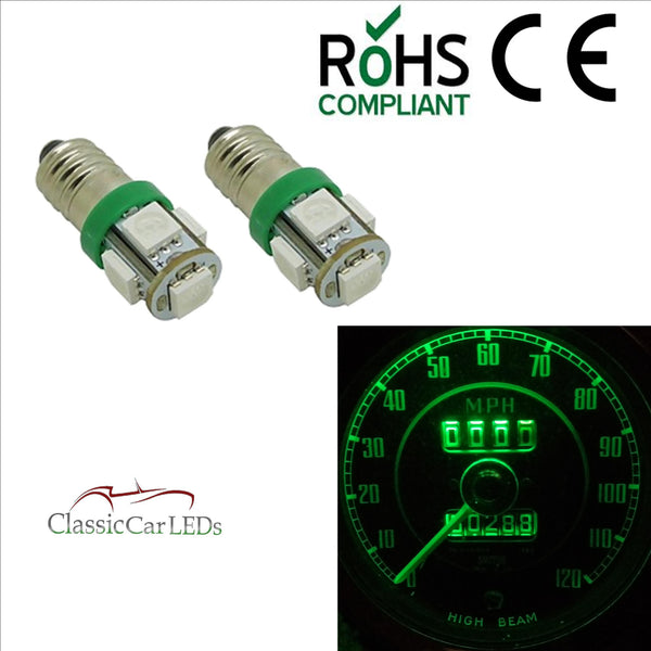 GLB987 E10MES Green 5 SMD LED Bulb Dashboard / Gauge Lighting