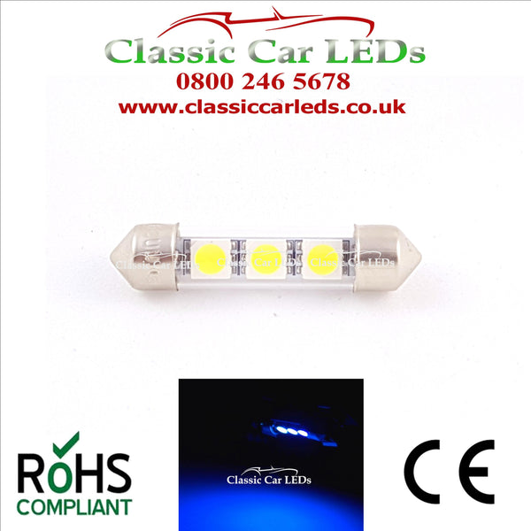 38 - 39 MM FESTOON BLUE GLASS TUBE LED BULB GLB254 C5W