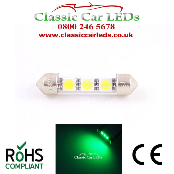 38 - 39 MM FESTOON GREEN GLASS TUBE LED BULB GLB254 C5W