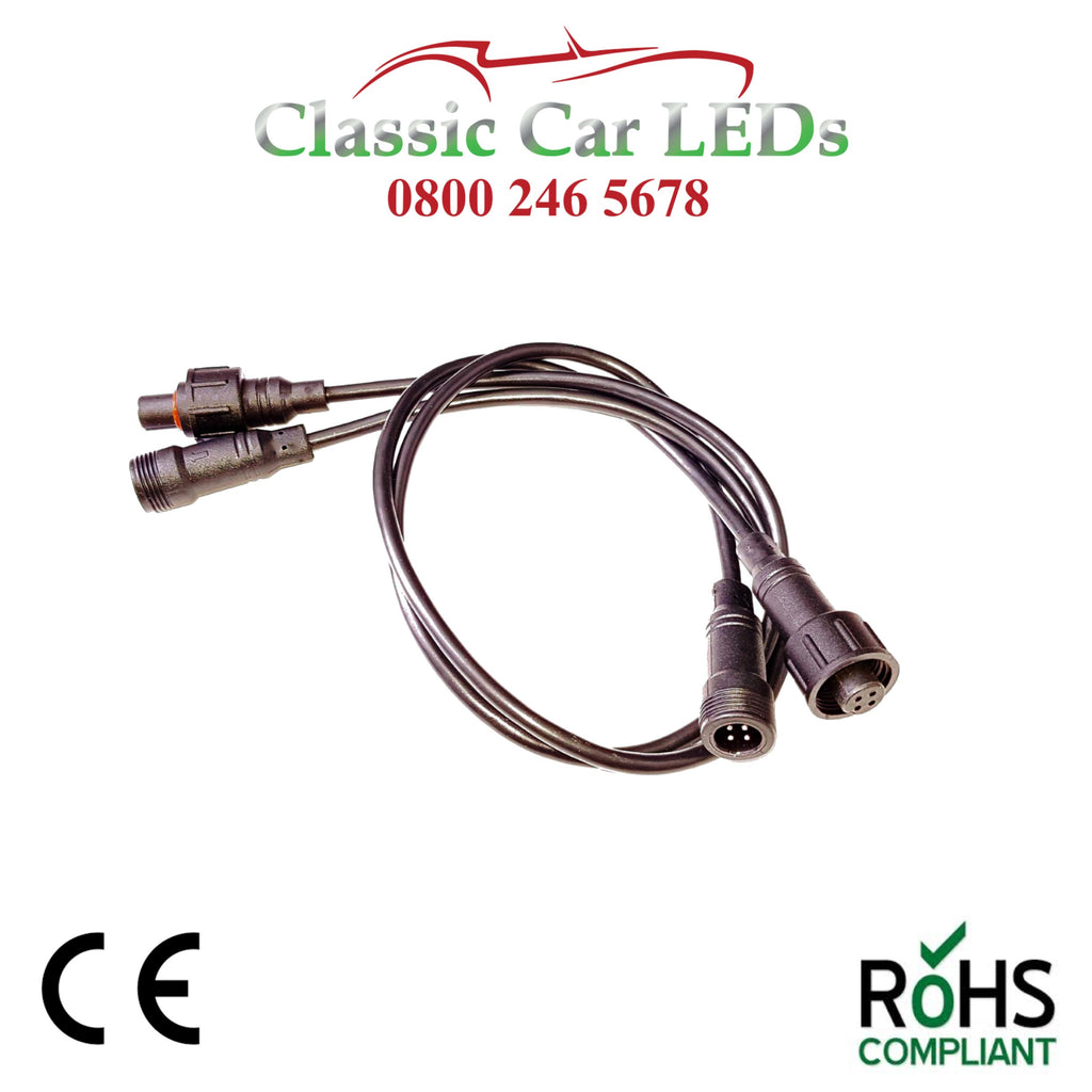 1 x H1 / H3 / H4 / H7 / P45T LED Headlight remote mounting lead for IC Units