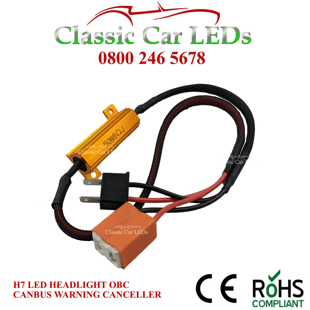 1 x H7 LED HEADLIGHT CANBUS OBC WARNING CANCELLER 50W 6Ohm Load Resistor