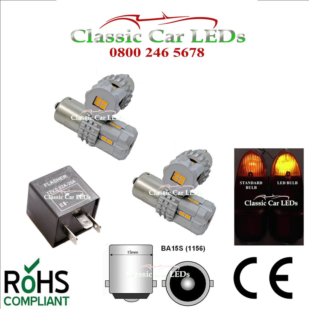 BRIGHT AMBER LED INDICATOR BULB KIT AND RELAY BA15S GLB382