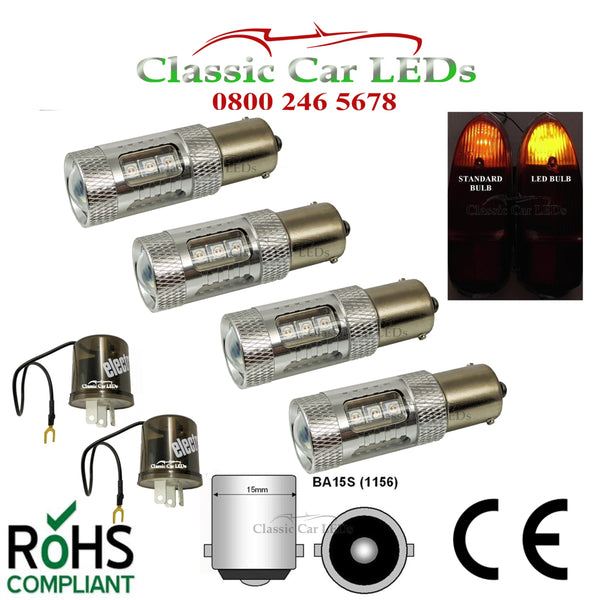 CLASSIC CAR LED INDICATOR & HAZARD KIT 4 BULBS 2 RELAYS BA15S 382