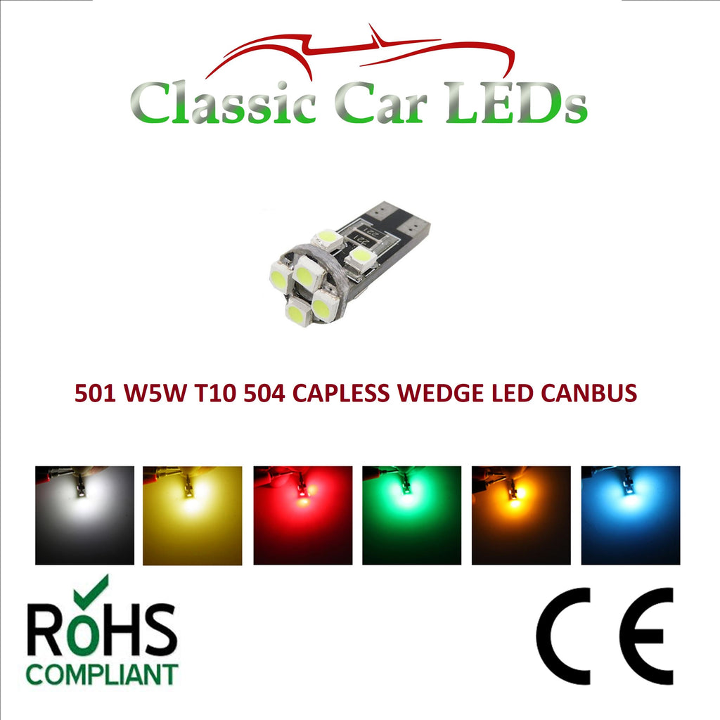 GLB504 T10 LED Capless Wedge Bulbs Classic Car Gauge Dashboard Various Colours