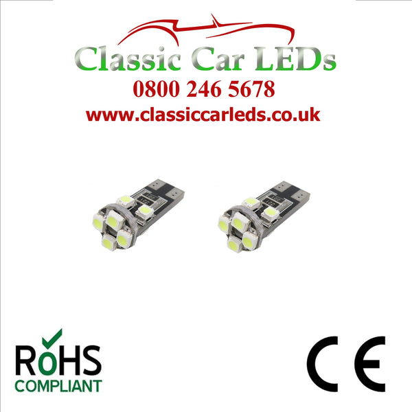 GLB501 T10 LED Canbus Capless Wedge Bulb Sidelight Number Plate Interior Various Colours