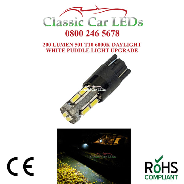 Jaguar XJ XK XKR XF XJ XE LED Puddle Light Bulb Upgrade T10 501 200 Lumen
