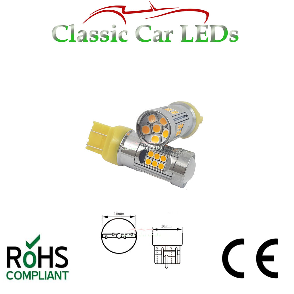 T20 LED SIDELIGHT AND INDICATOR YELLOW AMBER LLB580 P27/7w W2.5x16q