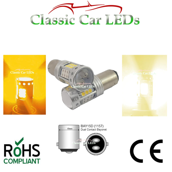 BAY15D 1157 WARM WHITE AND AMBER TAIL / SIDELIGHT AND INDICATOR COMBINED LED 380