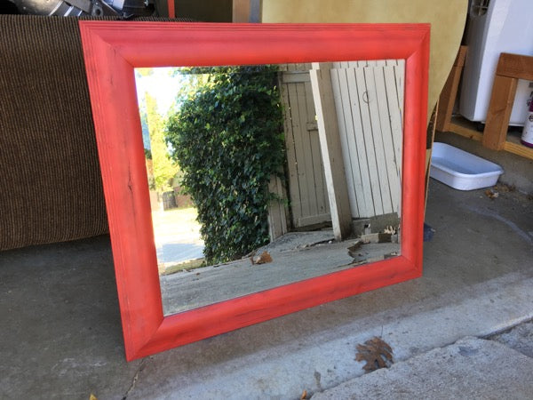 picture frame mirror wood frame mirror red