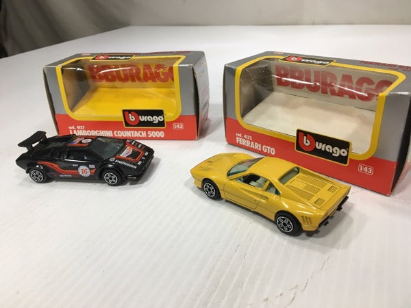 #346 burago lamborghini countach 5000 & Ferrari GTO Scale 1/43 model toy car collectible bundle