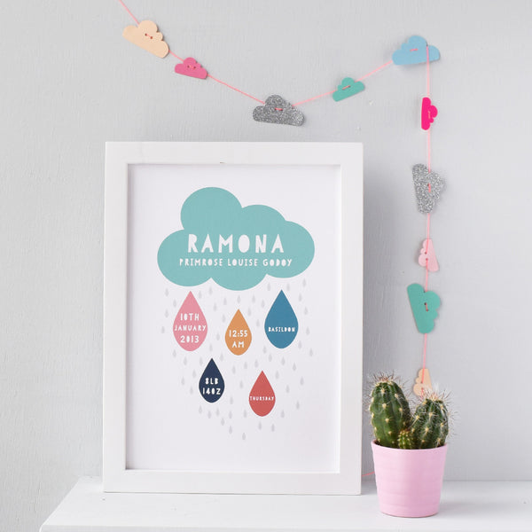 Birth Statistics Personalised Rain Cloud Print - Connie Clementine