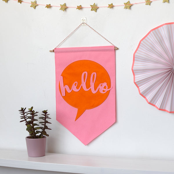 Hello Felt Banner Flag - Connie Clementine
