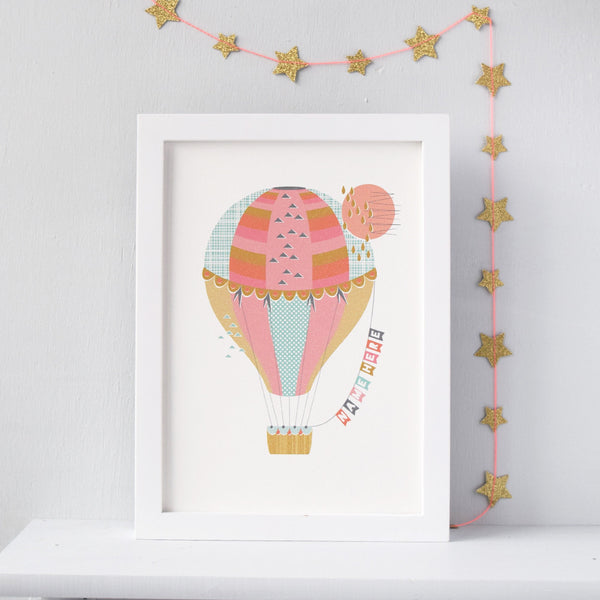 Personalised Hot Air Balloon Nursery Print - Connie Clementine